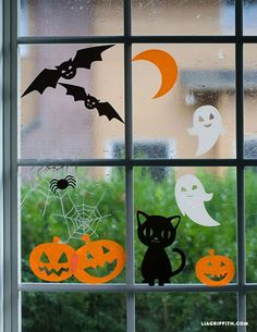 Halloween window clings Halloween Window Stickers for your windows. A great project for…<br> We are starting our DIY Halloween season with these adorable Halloween window clings featuring happy pumpkins, laughing ghosts and an adorable black cat. Deco Haloween, Theme Halloween, Halloween Tags, Halloween Crafts For Kids, Holidays Halloween, Halloween Season, Halloween Halloween, Kids Holidays, Homemade Halloween
