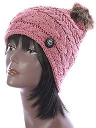 Pink CABLE KNIT stylish Winter Beanie HAT CAP w / Faux FUR Pom Pom