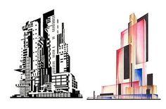 Deconstructivism : Iakov Chernikhov Studies  (via Architecture MNP)   Koizumi Lighting Theater : Peter Eisenman