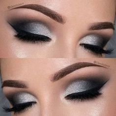 21 Insanely Beautiful Makeup Ideas for Prom: #4. DRAMATIC BLACK & SILVER SMOKEY EYE