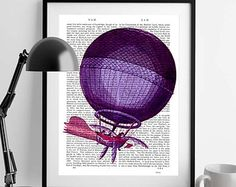 Vintage Dictionary Art Balloon Print Flying by ClassicWalls