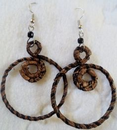 Medium Sized Banana Leaf African Earrings, Circular design $10