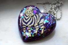 Unique Gift for Her, Galaxy Zebra Necklace, Glitter Heart Pendant, Cute Resin Jewelry, One of a Kind, Handmade Resin Jewelry by isewcute by #isewcute on Etsy