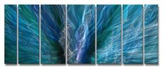 """Blue Zion"" Metal Wall Hanging, Abstract Metal Panel Art, Contemporary Home Décor ASH CARL http://www.amazon.com/dp/B007Y668TK/ref=cm_sw_r_pi_dp_kEH9ub1WYMNGN"