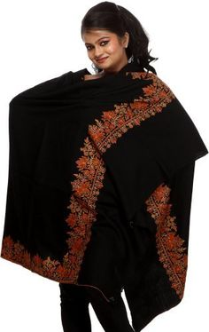 Exotic India Jet Black Plain Pure Pashmina Shawl with Hand Embroidered Chinar Leaves on Border - Black Exotic India. $1495.00