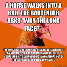 a horse walks into a bar the bartender asks why the long face - Anti-Joke Chicken