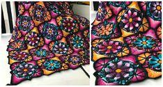Ideas Crochet Free Afghan Patterns Stained Glass For 2019 Crochet Afghans, Crochet Ripple Blanket, Crochet Edging Patterns, Afghan Crochet Patterns, Crochet Squares, Easy Crochet, Free Crochet, Crochet Blankets, Irish Crochet
