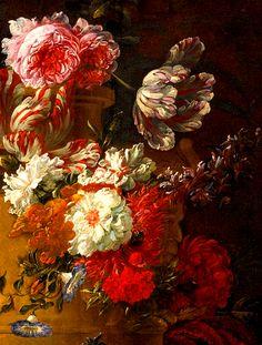 clara–lux: BOSSCHAERT, Jan Baptist (1667–1746)  Still life of flowers in a sculpted stone urn, detail1713Oil on canvas, 75 × 62.2 cmEd. Orig. Lic. Ed.