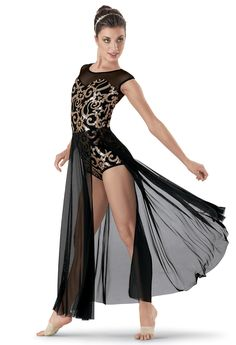 Adult Contemporary Gilding Professional Ballet Costumes Long Ballet Leotards For Women Ballroom Dance Competition Dresses