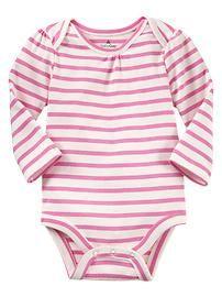 Nautical pink stripe onesie, baby gap