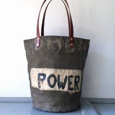 "da66f32c7ad2 50 s UK ARMY vintage canvas remake bucket style tote bag. Original  Handwriting on canvas ""POWER"" and ""DMBAV"" IND BNP 00120 UK ARMY W 44cm H  38cm D27cm ..."