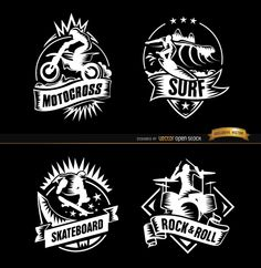 4 Badges in black and white with images of extreme sports like motocross, surf, and skateboard, and also an image of a rock n' roll drummer. You can use these in websites for sections related to those topics, or in printed material as logos or labels over a product surface. High quality JPG included. Under Commons 4.0. Attribution License.