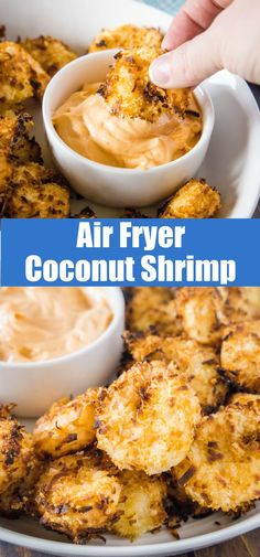Air Fryer Coconut Shrimp - crispy coconut crusted shrimp cooked in the air fryer (oven recipe included). Super crispy, crunchy, slightly sweet and delicious.