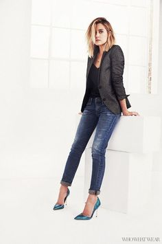 Lauren Conrad in skinny jeans, a blazer, and heels