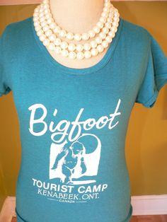 TEAL BIGFOOT TSHIRT Vintage Ladies s m by HousewifeVintage on Etsy, $29.00