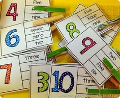 Back to School Clip Cards - numbers, color words, number words, alphabet, beginning sounds, ending sounds