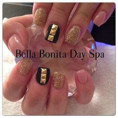 Gel nails with bling and studs