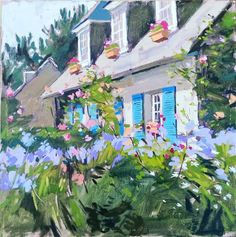 """Daily Paintworks - """"Cottage with blue shutters"""" - Original Fine Art for Sale - © Haidee-Jo Summers"""