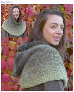 #Free #Knitting Pattern for a Hooded Cowl  in Wendy's Fur Evolution #Yarn - One Skein Pattern - One Ball Pattern