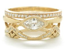Gorgeous Golden Gate ring with horizontal marquise Etruscan ring from Dawes Design http://www.dawes-design.com/