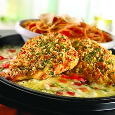 Parmesan Crusted Chicken Breasts with Tomato, Basil, Potatoes with Peppers and Onions Lime Basil Chicken, Healthy Chicken, Chicken Recipes, Italian Baked Chicken, Can I Eat, Parmesan Crusted Chicken, Frozen Chicken, Breast Recipe, Pork Dishes