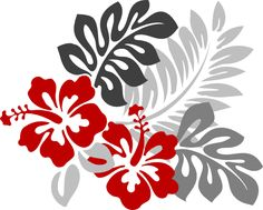 Hibiscus Flower Clip Art | Red And Grey Hibiscus...