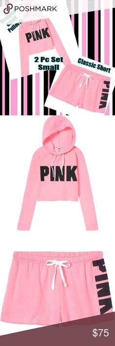 NEW🎀VS PINK Cropped Hoodie & Short SET 2 PC SET🎀Brand New In Original Packaging Victorias Secret PINK Cropped Cutoff Pullover Hoodie & Short Logo SET BEVERLY HILLS PINK & Black  SIZE=SMALL  SAME DAY SHIPPING  VS44CHCS PINK Victoria's Secret Shorts
