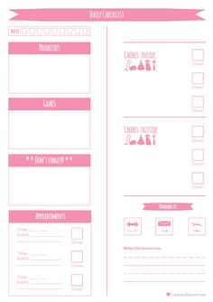 Daily Planner Printable To Do List - LoulouZoo. Get organised with my FREE printable to do list with daily planner Weekly Planner Printable, Free Planner, Planner Template, Planner Pages, Planner Sheets, Planner Ideas, College Problems, Bujo, Home Management Binder