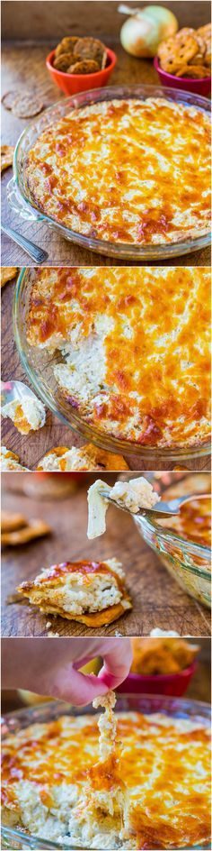 Creamy Baked Double Cheese & Sweet Onion Dip (GF) - An easy dip that's dangerously good. Pure cheesy comfort food that everyone loves! Perfect for Superbowl parties!