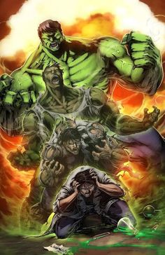 Bruce Banner and The Hulk Marvel 11 x 17 Digital by Wizyakuza Hulk Marvel, Hulk Comic, Hulk Avengers, Marvel Comics Art, Marvel Heroes, Comic Art, Heroes Comic, Avengers Series, Ms Marvel
