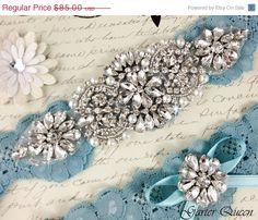 15% OFF Bridal garter set, SOMETHING BLUE Wedding Garter set, Heirloom Rhinestone and Crystal garters on Etsy, $72.25
