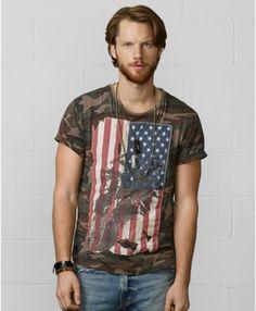 Denim & Supply Ralph Lauren Flagappliqué Camo Tshirt in Green for Men (Old Woodland Camo) | Lyst