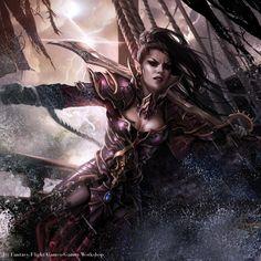"""Magali Villeneuve Portfolio: Warhammer Invasion LCG : """"Fragments of Power"""" Battle Pack. """"Dark Elf Corsair """""""