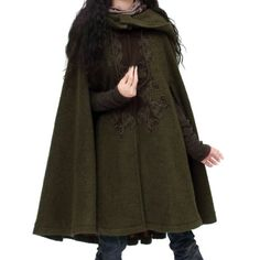 Artka Women'S Embroidery Turn-Down Collar Woolen Cape Coat Green One Size Winter Coats Women, Coats For Women, Jackets For Women, Green Wool Coat, Forest Fashion, Winter Trench Coat, Cape Designs, Cape Coat, Cape Jacket