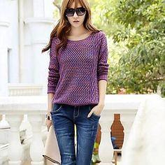 hueco redondo de la mujer fuera delgada floja suéter tejido de punto jersey – USD $ 10.19