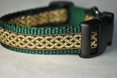 "Celtic Knot Green and Gold 3/4"" Adjustable Dog Collar. $15.00, via Etsy."