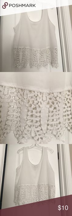 Lace-Trimmed Tank Shell White poly-blend tank with lace portion on bottom. Light stains on side, otherwise perfect condition. Runs large. Lucca Couture Tops Tank Tops