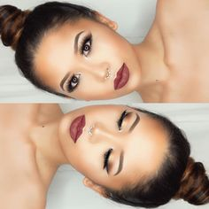 """Feeling so fall ready with this aubergine lippie 🍆🍁🍂 ✨ @anastasiabeverlyhills medium brown dipbrow set with clear brow gel / medium cream contour kit set…"""