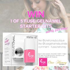 WIN one of 5 FUSE GELNAMEL STARTER KITS Valued at $49.95!   HOW TO ENTER:  LIKE the Fuse Gelnamel Australia page LIKE the One Honey Boutique page COMMENT #fuseonehoney on this status once your done!   Make sure to join both pages to be eligible, Good Luck!  T&C: Open to all AUS residents | No fake profiles | Winner Drawn 06/06/14 on fb | Not endorsed or affiliated with facebook  ENTER HERE: http://on.fb.me/1oUpixQ