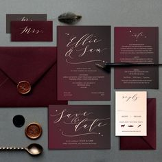 wedding invitations Burgundy Skies Save the Date Cards, Modern Calligraphy Wedding Stationery Burgundy Wedding Invitations, Vintage Wedding Invitations, Printable Wedding Invitations, Wedding Invitation Design, Halloween Wedding Invitations, Vintage Weddings, Calligraphy Wedding Stationery, Modern Calligraphy, Calligraphy Cards