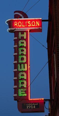 Rolison Hardware | Flickr - Photo Sharing! Old Neon Signs, Vintage Neon Signs, Neon Light Signs, Old Signs, Advertising Signs, Vintage Advertisements, Vintage Ads, Retro Signage, Wayfinding Signage