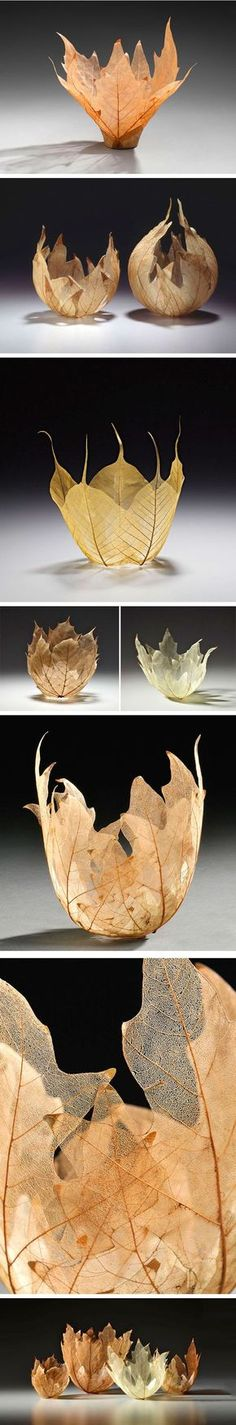 Ethereal bowls made from the skeletons of maple and other leaves are the latest addition to Japanese artist Kay Sekimachi's impressive portfolio. While she is most famous for her labor-intensive loom works, Sekimachi creates these sylvan masterpieces by adding Kozo paper, watercolor and Krylon coating to the leaves, giving them solid form.