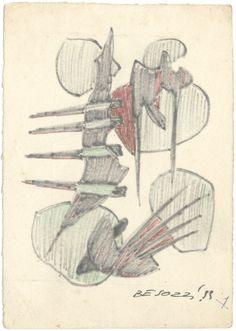 E. Besozzi pitt. 1959 Composizione pennarello e biro su carta cm. 12,9x9,2 arc. 642