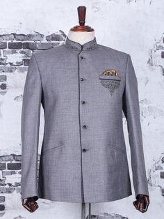Shop Grey jodhpuri suit for wedding online from India. Latest Mens Suit Designs, Latest Suit Design, Prince Suit, Buy Suits, Wedding Online, Designer Suits For Men, Men Online, Grey Fabric, Wedding Suits
