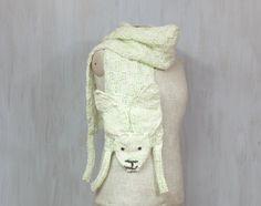 Wool hare  soft long wrap rabbit animal scarf by Florfanka on Etsy