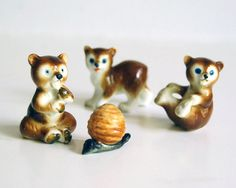 Vintage Bear Figurines, Japan Bone China Miniature Animals Collectibles Toys, Beehive Brown Bears