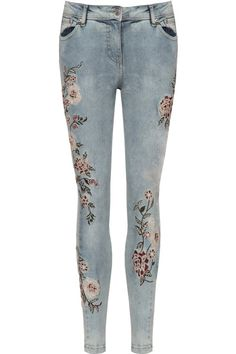 Felicity Floral Accent Low Rise Skinny Jeans