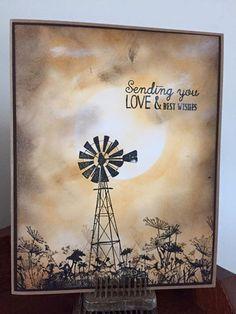 Another card using sponging technique and Darkroom Door windmill stamp…
