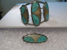 Vintage Southwestern Silver Turquoise MOP Cuff Bracelet, Ring, N.Lee, Norman Lee #NLeeNormalLeeNavajo