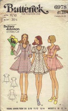 Betsey Johnson Butterick 6978 1970s Sewing Pattern
